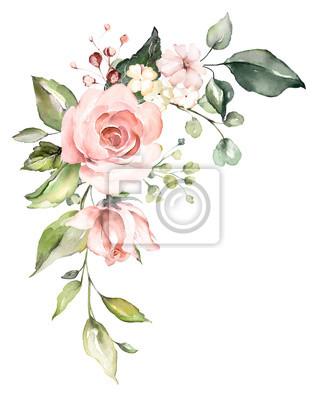 Aquarell Blumen. Blumenillustration, Blatt und Knospen. Botanische Zusammensetzung für Hochzeit oder Grußkarte. Zweig der Blumen - Abstraktion Rosen