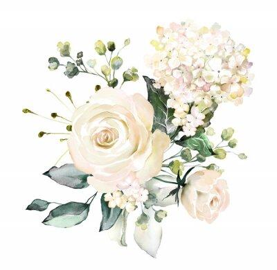 Aquarell Blumen. Blumenillustration, Blatt und Knospen. Botanische Zusammensetzung für Hochzeit oder Grußkarte. Zweig der Blumen - Abstraktion Rosen, Hortensie