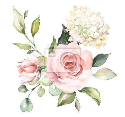 Aquarell Blumen. Blumenillustration, Blatt und Knospen. Botanische Zusammensetzung für Hochzeit oder Grußkarte. Zweig der Blumen - Abstraktion Rosen, romantisch
