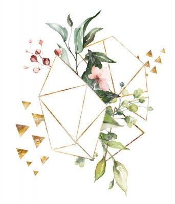 Aquarell Blumen. Blumenillustration, Blatt und Knospen. Botanische Zusammensetzung mit geometrischer polygonaler Form. Zweig der Blumen