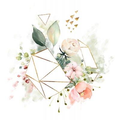 Aquarell Blumen. Blumenillustration, Blatt und Knospen. Botanische Zusammensetzung mit geometrischer polygonaler Form. Zweig der Blumen - Abstraktion Rosen