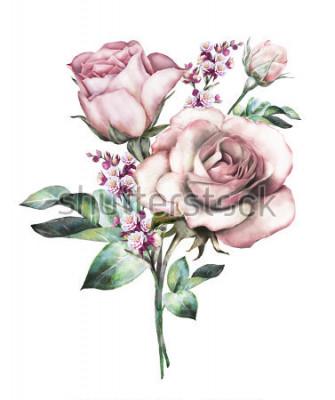 Sticker Aquarell Blumen. Blumenillustration, Blume in Pastellfarben, Rosarose. Zweig der Blumen getrennt auf weißem Hintergrund. Blatt und Knospen. Niedliche Komposition für Hochzeit oder Grußkarte. Strauß