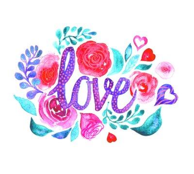 Aquarell Blumen mit den Worten Liebe