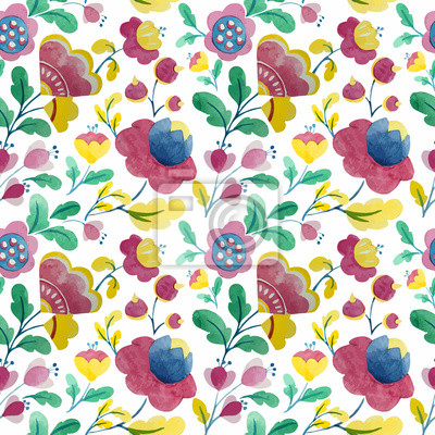 Aquarell-Blumen-Muster Natur Hintergrund