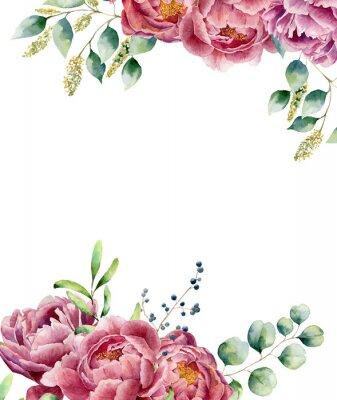 Sticker Aquarell Blumenkarte isoliert auf weißem Hintergrund. Vintage-Stil posy gesetzt mit Eukalyptus Zweige, Pfingstrose, Beeren, Grün und Blätter. Blume handgemalte Design