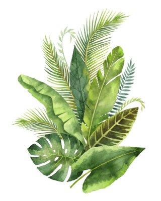 Sticker Aquarell Bouquet tropischen Blätter und Zweige isoliert auf weißem Hintergrund.