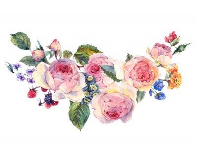 Sticker Aquarell Bouquet von englischen Rosen und Wildblumen
