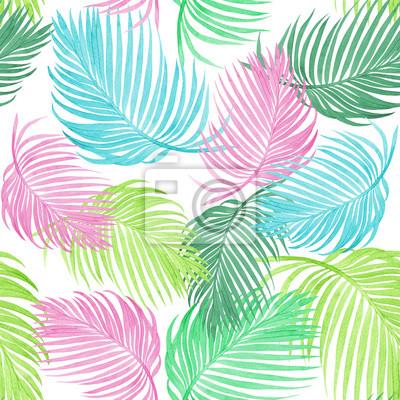 Aquarell, das bunte Kokosnuss, Palmblatt, nahtlosen Musterhintergrund des Grüns verlässt Aquarell tropisches exotisches Blatt der Hand gezeichnete Illustration druckt für Tapete, Textil-Hawaii-aloha D