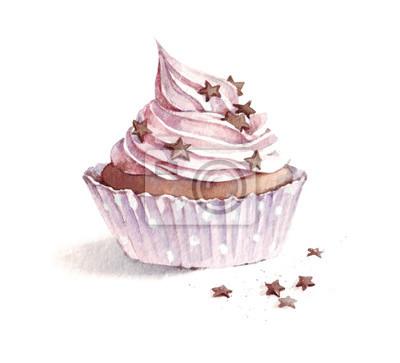 Aquarell-Erdbeerkleiner kuchen mit Schokoladen-Pulver, Hand gezeichnete köstliche Lebensmittelillustration, lokalisiert auf weißem Hintergrund.