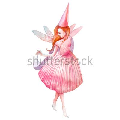 Sticker Aquarell Fee Abbildung. Handgemalter Märchencharakter lokalisiert auf weißem Hintergrund. Karikaturmädchen mit Flügelkunst