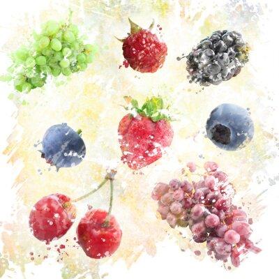 Sticker Aquarell Früchte Hintergrund