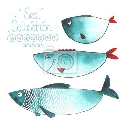 Aquarell funny fishes