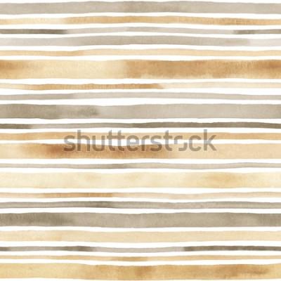 Sticker Aquarell gestreiftes nahtloses Muster. Hand gezeichneter Hintergrund mit Aquarellstreifen
