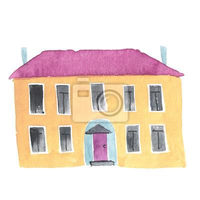Aquarell handgemalte alte Haus oder in der Schule