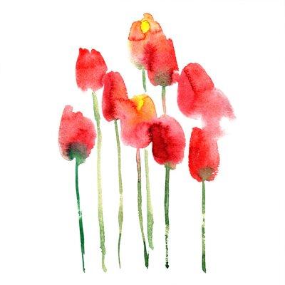 Sticker Aquarell handgemalte rote und gelbe Tulpen