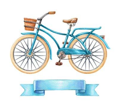 Sticker Aquarell-Illustration, blaues Fahrrad, Retro-Bike, leere Band-Tag, Banner, Etikett, Transport Clip Art isoliert auf weißem Hintergrund