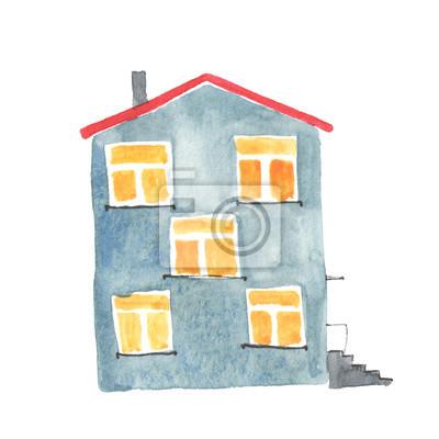 Aquarell-Illustration der alten grauen Haus