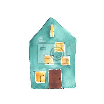 Aquarell-Illustration der alten türkisfarbenen Haus