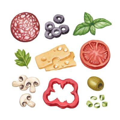Sticker Aquarell-Illustration von Lebensmittelzutaten