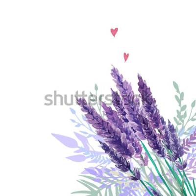 Sticker Aquarell Lavendel Bouquet Hintergrund. Rahmen mit handgemalten Vintage Pflanzen, Blumendekor und Herzen. Vektor-illustration
