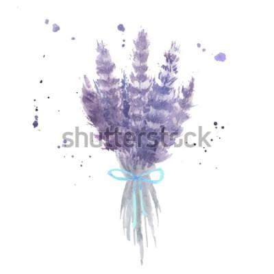Sticker Aquarell Lavendel Bouquet. Skizzieren Sie Lavendelblüten mit blauen Bändern und Aquarellspritzer. Isolierte Vektor-Illustration