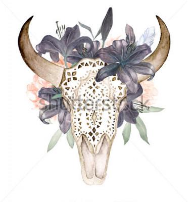 Sticker Aquarell lokalisierte den Kopf des Stiers mit Blumen und Federn auf weißem Hintergrund. Boho-Stil. Dekorativer Schädel auf schwarzem Hintergrund für die Verpackung, Tapete, T-Shirts, Gewebe, Poster, K