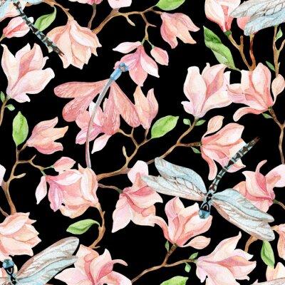 Sticker Aquarell Magnolien Zweige und Libelle