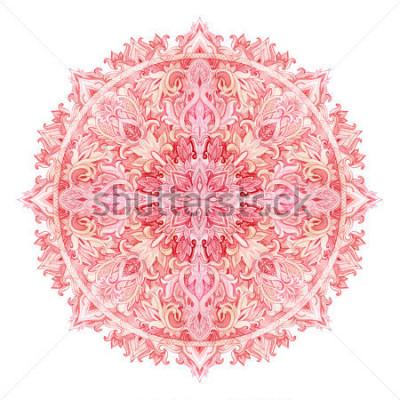 Sticker Aquarell-Mandala. Hand gezeichnetes Muster im östlichen Stil. Dekoratives Lochmuster für Tribal- und Boho-Designs. Traditionelle Spitze lokalisiert auf weißem Hintergrund.