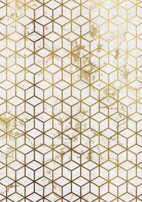 Sticker Aquarell Marmor Hintergrund mit geometrischen Würfel Muster.