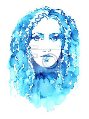 Aquarell Mode Mädchen Gesicht