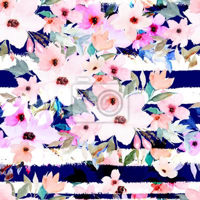 Aquarell nahtlose Muster auf gestreiften Hintergrund. Blumenmuster