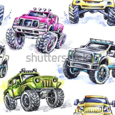 Sticker Aquarell nahtlose Muster Cartoon Monster Trucks. Bunter Extremsporthintergrund. 4x4. Geländewagen SUV. Lebensstil. Das Hobby des Mannes.