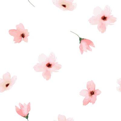 Sticker Aquarell nahtlose Muster. Gemalter Blumenentwurf