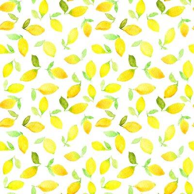 Sticker Aquarell nahtlose Muster mit gelben Zitronen. Kann für Verpackungspapier, Hintergrund des Geburtstages, der Mutter Tag und irgendwelche Feiertage verwendet werden.