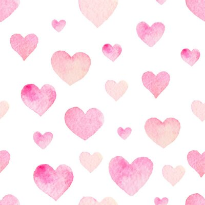 Sticker Aquarell nahtlose Vektor-Muster mit Herzen zum Valentinstag