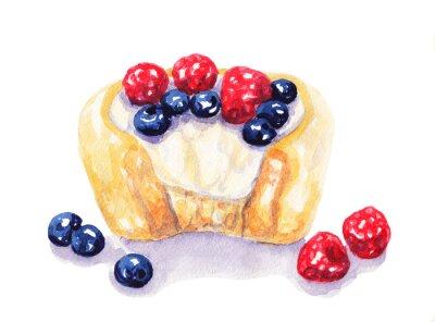 Sticker Aquarell Obst scharf Käsekuchen mit Beeren auf weißem Hintergrund