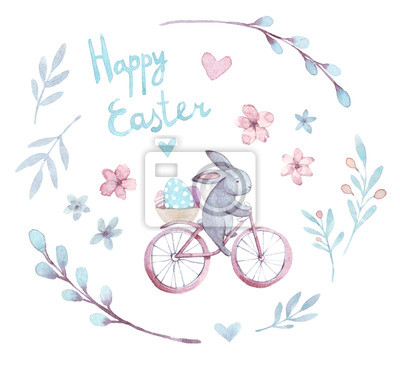 Aquarell Ostern Set. Cartoon-Kaninchen, Blumen, Herzen, Fahrrad, Eier