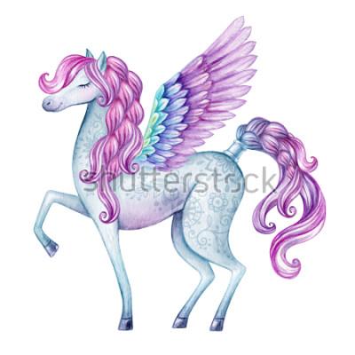 Sticker Aquarell Pegasus Illustration, Märchen Kreatur, fliegende Hengst, magische Tier ClipArt, isoliert auf weißem Hintergrund