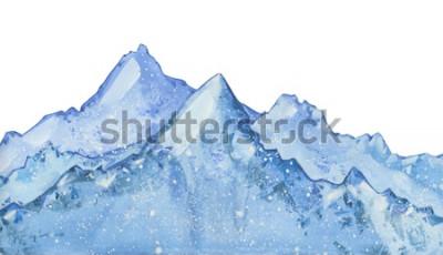 Sticker Aquarell schneebedeckten blauen Wintergipfel. Hand gezeichnete Winterillustration auf weißem Hintergrund.