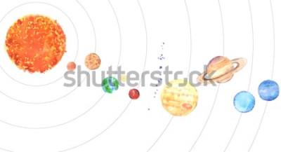 Sticker Aquarell Sonnensystem. Sonne und Planeten (Merkur, Venus, Erde, Mars, Jupiter, Saturn, Uranus, Neptun) auf weißem Hintergrund.