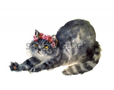 Sticker Aquarell süße Katze mit Blumen