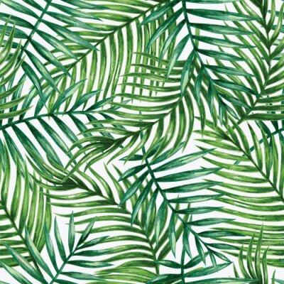 Sticker Aquarell tropische Palme Blätter nahtlose Muster. Abbildung.