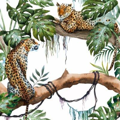 Sticker Aquarell-Vektor-Leopardenmuster