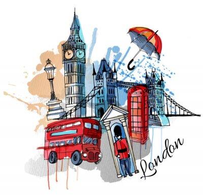 Sticker Aquarell Vektor London Hintergrund