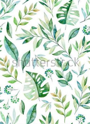 Sticker Aquarell verlässt nahtloses Muster der Niederlassung auf weißem Hintergrund. Beschaffenheit mit grünen, Niederlassung, Blättern, tropischen Blättern, Laub. Vervollkommnen Sie für Hochzeit, Abdeckungse