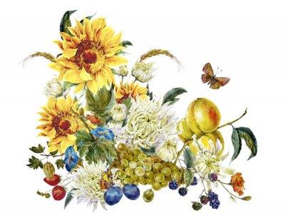 Sticker Aquarell-Vintage-Karte mit Rosen, Obst, Sonnenblumen