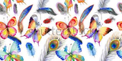 Sticker Aquarell Vogel Feder Muster vom Flügel. Wilde Blume des Aquarells für Hintergrund, Beschaffenheit, Verpackungsmuster, Rahmen oder Grenze.
