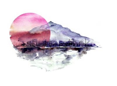Sticker Aquarellberglandschaft, blaue, purpurrote Berge, Spitze, Waldschattenbild, Reflexion im Fluss, rote Sonnenuntergangsonne. Auf weißem hintergrund isoliert. Auf weißem hintergrund isoliert.