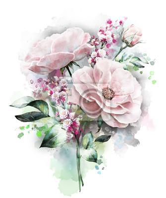 Aquarellblumen. Blumenillustration, Blume in den Pastellfarben, rosafarbene Rose. Zweig der Blumen auf weißem Hintergrund. Blatt und Knospen. Nette Komposition für Hochzeit oder Grußkarte. Spritzlacki