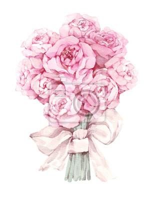 Aquarellblumen lokalisiert auf weißem Hintergrund. Blumenillustration in den Pastellfarben, rosa Rose. Blumenstrauß aus Blumen mit Bogen. Blatt und Knospen. Nette Zusammensetzung für Hochzeits- oder G
